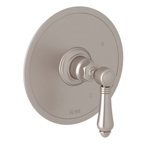 ROHL® Italian Country Bath Tub and Shower Pressure Balancing Valve Trim with Metal Single Lever Handle (Less Diverter) in Satin Nickel RA1410LMSTN