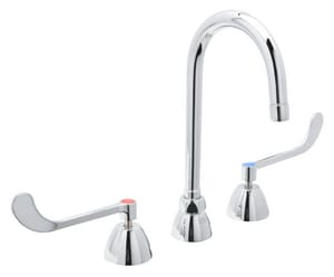 Zurn AquaSpec® 2.2 gpm 3-Hole Deck Mount Widespread Lavatory Faucet with Double Wristblade Handle and Gooseneck Spout 5-3/8 in. Reach in Polished Chrome ZZ831B6XLICTP