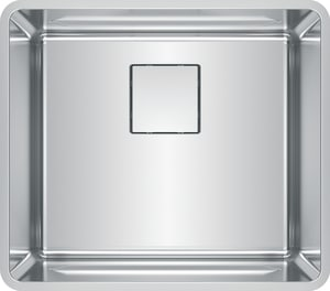 Franke Consumer Products Pescara 20-5/8 x 18-3/16 in. 18 ga No-Hole 1-Bowl Undermount Kitchen Sink with Rear Center Drain in Stainless Steel FPTX11020
