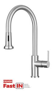 Franke Bernadine Single Handle Pull Down Kitchen Faucet in Stainless Steel FFF20650