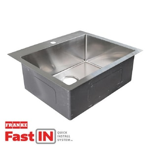 Franke Vector 25 x 22-7/16 in. 1 Hole Stainless Steel Single Bowl Dual Mount Kitchen Sink in Brushed Steel FHFS25221