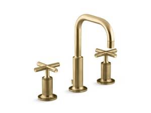 Kohler Purist® Two Handle Widespread Bathroom Sink Faucet in Vibrant Moderne Brushed Gold K14406-3-BGD