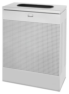 Rubbermaid Silhouette® 40 gal Rectangle Waste Receptacle Waste Container in Stardust Silver Metallic RFGSR18ERBSM