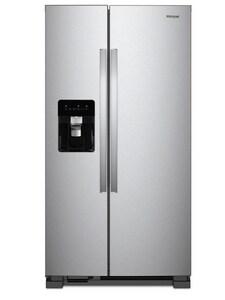 Whirlpool 36 in. wide 24.57 cf Freestanding Side-by-Side Refrigerator in Monochromatic Stainless Steel WWRS315SDHM