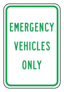 Accuform Signs 18 x 12 in. Engineer Grade Emergency Vehicles Only Sign in White AFRP268RA at Pollardwater