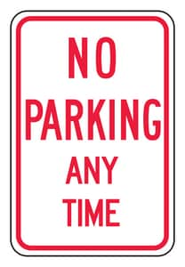 Accuform Signs 18 x 12 in. Engineer Grade No Parking Any Time Sign in White AFRP114RA at Pollardwater