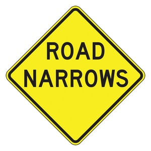 Accuform Signs 24 x 24 in. Engineer Grade Road Narrows Sign in Yellow AFRW434RA