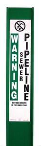 Rhino 3-Rail™ 66 in. Fiberglass Post with Sewer Pipeline Warning in Green RFR66CGGD1316C at Pollardwater