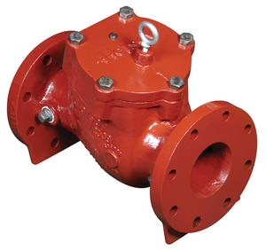 Model EDCIV 4 in. Red Enamel Coated Cast Iron Flanged Check Valve MX0S0001
