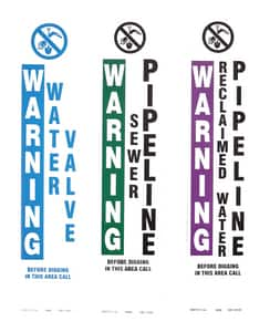 Repnet Warning Water Pipeline Standard Decal in Blue and White RGD1333C at Pollardwater