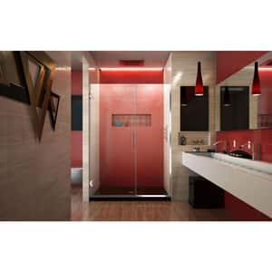 DreamLine Unidoor Plus 46-1/2 in. Frameless Hinged Shower Door with Clear Tempered Glass in Polished Chrome DSHDR24460721001