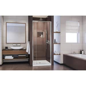 DreamLine Flex 32 in. Frameless Pivot Shower Door with Clear Tempered Glass in Polished Chrome DSHDR2228720001