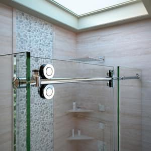 DreamLine Enigma 72-1/2 in. Frameless Sliding Shower Enclosure with Clear Tempered Glass in Brushed Stainless Steel DSHEN6036721207