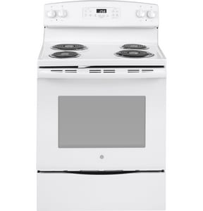 GE Appliances 30 in. 4-Burner Freestanding Electric Range with Self Clean in White GJB258DMWW