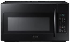 Samsung Electronics 15-9/16 in. 1.8 cf Over-the-Range Microwave with Sensor Cooking in Black SME18H704SFBAA