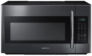 Samsung Electronics 15-9/16 in. 1.8 cf Over-the-Range Microwave with Sensor Cooking in Black Stainless Steel SME18H704SFGAA