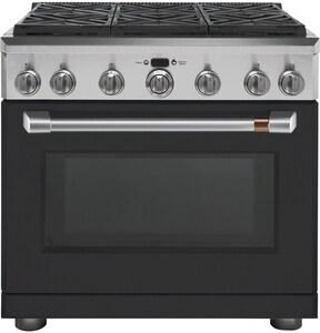 General Electric Appliances 35-1/4 x 35-7/8 in. 6.2 cf Gas Freestanding Range in Matte Black GCGY366P3MD1