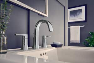 Moen Doux™ Two Handle Widespread Bathroom Sink Faucet in Polished Chrome MTS6925