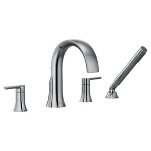 Moen Doux™ Double Lever Handle 4 Hole Widespread High Arc Roman Tub Faucet Trim Only in Polished Chrome MTS984
