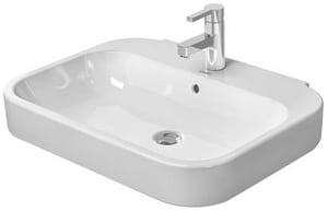 Duravit Happy D.2 1-Hole Ceramic Wall Mount Vanity Basin in White D2316600030