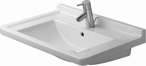 Duravit Starck 3 3-Hole Pedestal Rectangular Lavatory Sink in White D0304700030