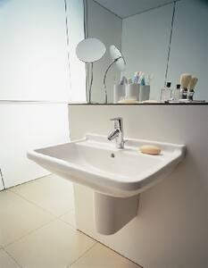 Duravit Starck 3 23-31/100 x 17-71/100 in. 3 Hole 1-Bowl Wall Mount Ceramic Rectangular Bathroom Sink in White D0300600030