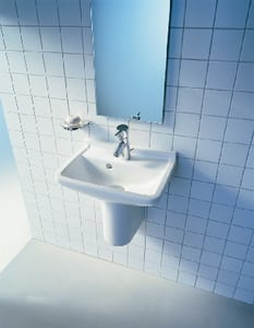 Duravit Starck 3 3-Hole Wall Mount Wash Basin with Rear Drain in White Alpin D0300650030
