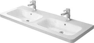 Duravit DuraStyle 51-9/50 x 18-39/50 in. 6 Hole 2-Bowl Wall Mount Ceramic Rectangular Bathroom Sink in White D2338130000
