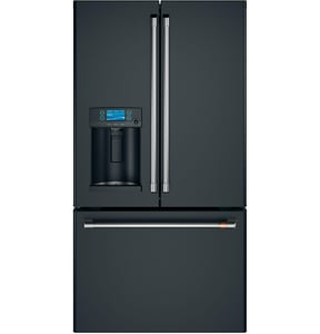 GE Appliances CAFE™ 35-3/4 in. 27.8 cf French Door Freestanding Refrigerator in Matte Black GCFE28TP3MD1