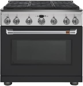 GE Appliances CAFE™ 35-7/8 in. 5.75 cf 108000 BTU 6-Burner Convection Natural Gas Freestanding Range in Matte Black with Brushed Stainless Steel GC2Y366P3MD1