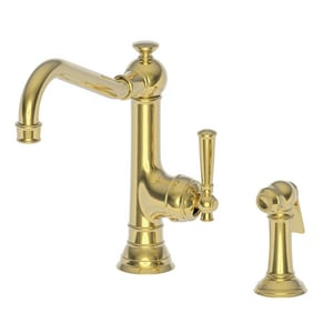 Newport Brass Jacobean Single Handle Kitchen Faucet in Uncoated Polished Brass - Living N2470-5313/03N