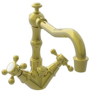 Newport Brass Chesterfield 1.2 gpm 1-Hole Widespread Lavatory Faucet with Double Cross Handle in Uncoated Polished Brass - Living N932/03N