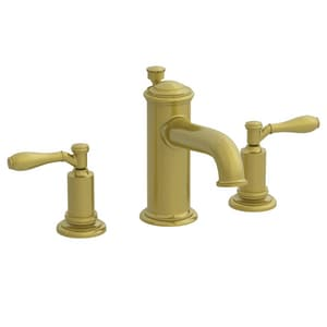 Newport Brass Ithaca 3-Hole Widespread Lavatory Faucet with Double Lever Handle and 6-1/8 in. Spout Reach in Antique Brass N2550/06