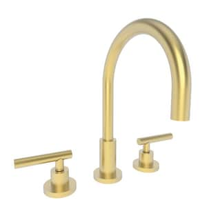 Newport Brass East Linear 1.2 gpm 3-Hole Widespread Lavatory Faucet with Double Lever Handle in Satin Brass - PVD N990L/04