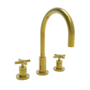 Newport Brass East Linear Two Handle Bathroom Sink Faucet in Uncoated Polished Brass - Living N990/03N