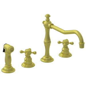 Newport Brass Chesterfield 4-Hole Kitchen Faucet with Double Cross Handle and Sidespray in Satin Bronze - PVD N943/10
