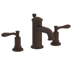 Newport Brass Ithaca 3-Hole Widespread Lavatory Faucet with Double Lever Handle and 6-1/8 in. Spout Reach in Oil Rubbed Bronze - Hand Relieved N2550/ORB