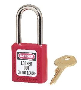 Master Lock 1-1/2 in. Thermoplastic Safety Lockout Padlock Keyed Alike M410KARED at Pollardwater
