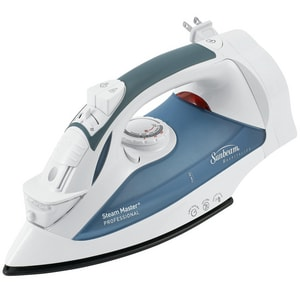 Sunbeam Hospitality GreenSense™ 5-1/2 in. 3-Way Auto Drip Free Nonstick Soleplate Vertical Full Size Retractable Steam Iron with LED Light in White S4274200000
