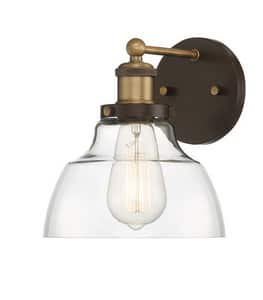 Park Harbor® Mooretown 8-7/8 in. 100W 1-Light Bath Light in Oil Rubbed Bronze with Antique Brass PHVL3071ORBRAB