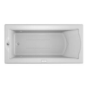JACUZZI® Fuzion® 70-7/10 x 35-2/5 in. Air Bath Drop-In Bathtub with End Drain in White JFUZ7236ALR4CXW