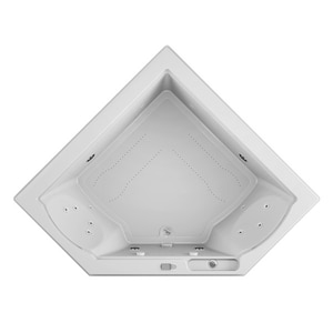 JACUZZI® Fuzion® 65-3/4 x 65-3/4 in. 15-Jet Acrylic Corner Drop-In or Undermount Spa Combination Bathtub with Center Drain and J5 LCD Control in White JFUZ6666CCR5IHW