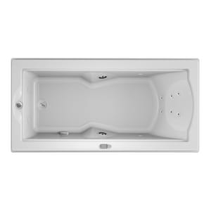 JACUZZI® Fuzion® 70-7/10 x 35-2/5 in. Whirlpool Drop-In Bathtub with End Drain in White JFUZ7236WLR5IWW