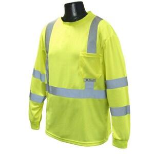 Radians L Size Long Sleeve T-Shirt in Hi-Viz Green RST213PGS at Pollardwater