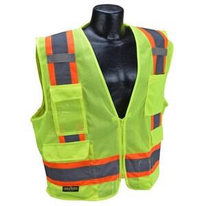 Radians Radwear™ Two Tone Surveyor Mesh Safety Vest Class 2 Hi-Viz Green Large RSV62ZGML at Pollardwater