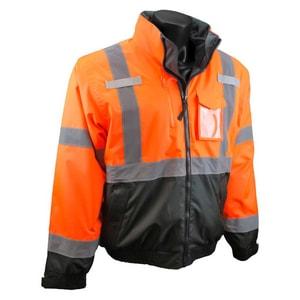 Radians Deluxe M Size Polyester and Elastic Bomber Jacket in Hi-Viz Orange and Black RSJ210B3ZOSM at Pollardwater