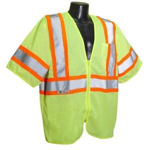 Radians Radwear™ XL Plastic Safety Vest in Hi-Viz Green RSV223ZGMXL at Pollardwater