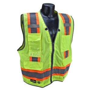 Radians Radwear™ Heavy Duty Two Tone Surveyor Mesh Safety Vest Class 2 Hi-Viz Green XL RSV6HGXL at Pollardwater