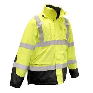 Radians Radwear™ M Size Polyester and Oxford Polyester Waterproof Parka in Hi-Viz Green RSJ410B3XGSM at Pollardwater