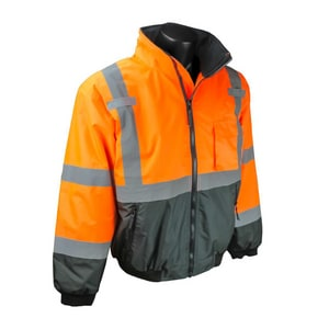 Radians Radwear™ L Size Polyester Bomber Jacket in Hi-Viz Orange and Black RSJ110B3ZOSL at Pollardwater